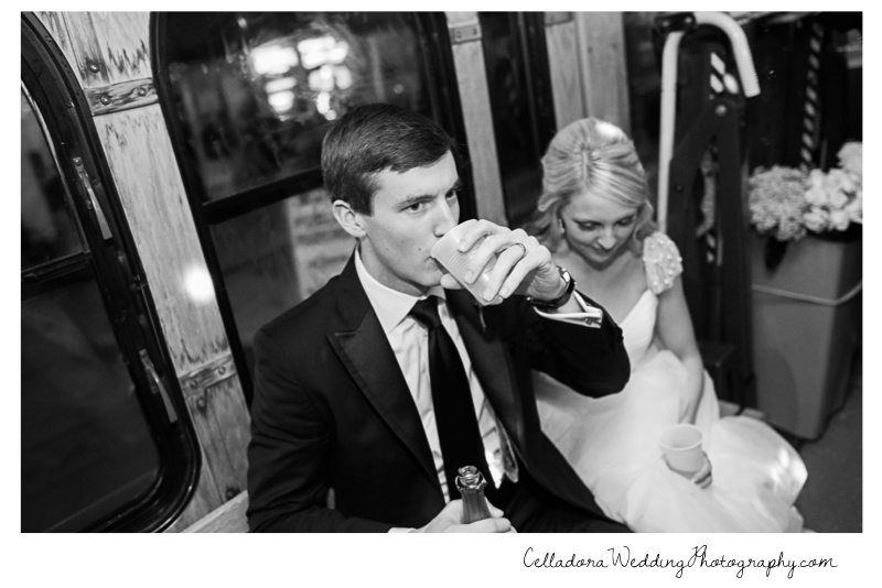 bride-and-groom-champagne-on-bus Laura and Kevin Nashville Wedding at Scarritt Bennett