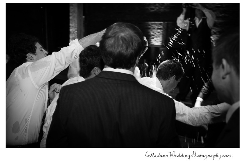 groom-getting-showered-in-beer-800x534 Laura and Kevin Nashville Wedding at Scarritt Bennett