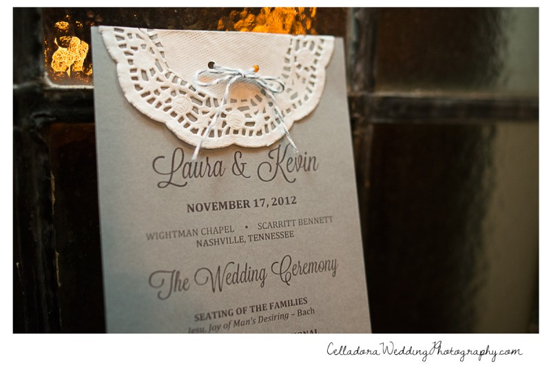 wedding-program-800x534 Laura and Kevin Nashville Wedding at Scarritt Bennett