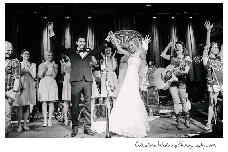 bride-and-groom-on-stage-broadway-800x534 John + Lindsay Downtown Nashville Wedding