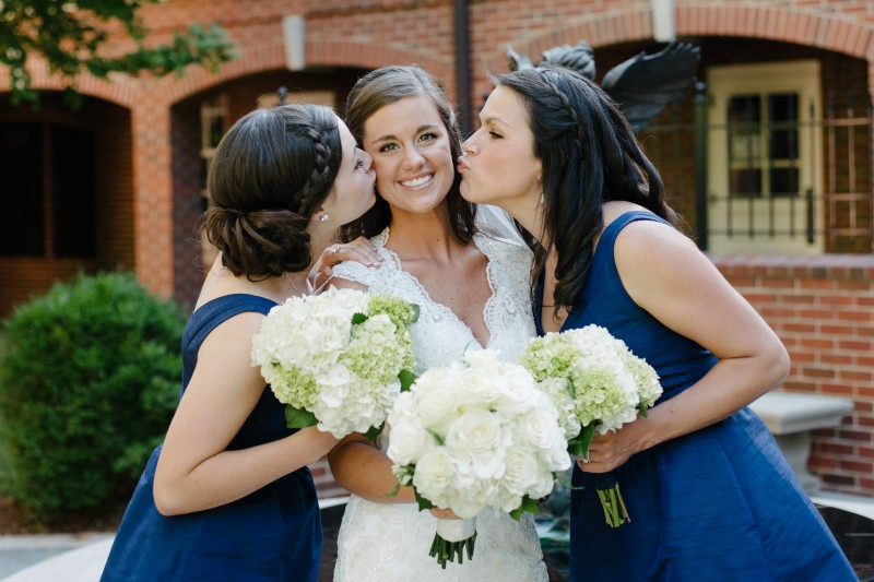 bride-getting-kiss-from-sisters-800x533 Blair + Hunter Brentwood, TN Wedding