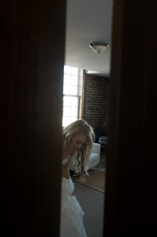 bride-through-doorway-533x800 One Cannery Ballroom Nashville 4th of July Wedding | Brian and Jenna