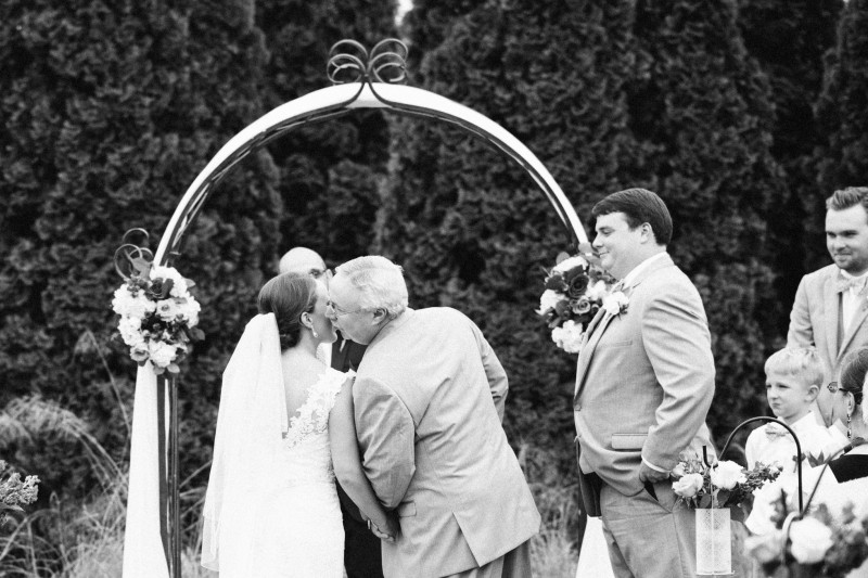 father-kissing-bride-800x533 Catherine and Zach Hermitage, TN Outdoor Wedding