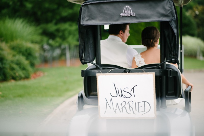 just-married-golf-cart-800x533 Catherine and Zach Hermitage, TN Outdoor Wedding