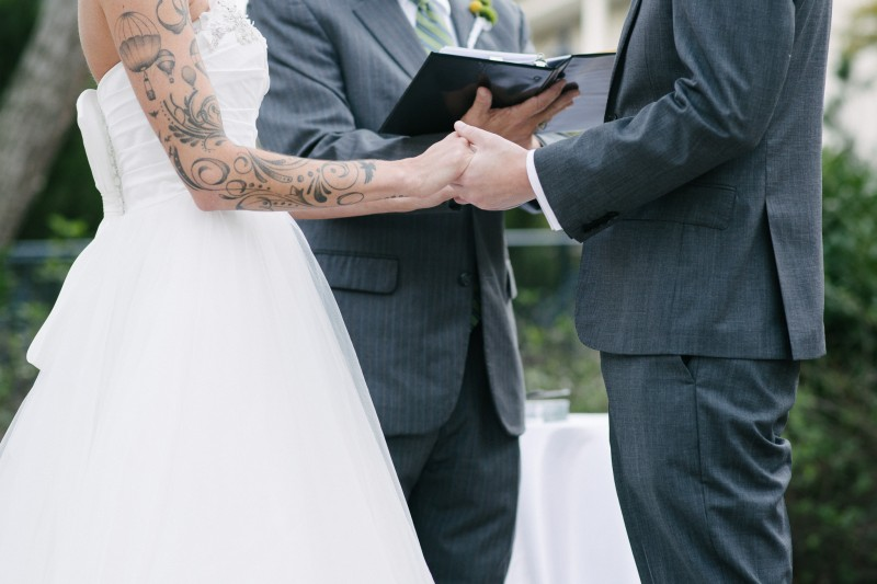 bride-with-sleeve-holding-hands1-800x533 Opryland Hotel Wedding in Nashville, TN - Dawn + Keith