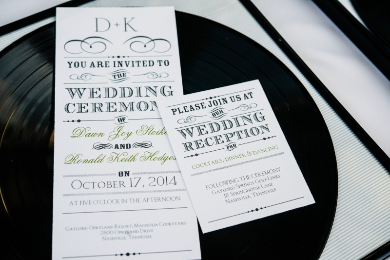 nashville-record-wedding-invitation1-800x533 Opryland Hotel Wedding in Nashville, TN - Dawn + Keith