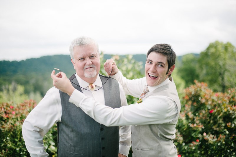 groom-with-father-goofing-800x534 Front Porch Farms Wedding - Taylor and William