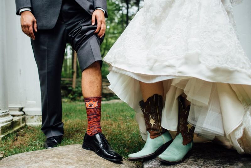 auburn-socks-bride-boots-800x534 Outdoor Barn Wedding | Murfreesoro, TN | Paul and Amanda