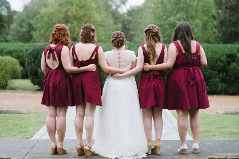 back-of-bridesmaids-dresses-800x534 Two Rivers Mansion Fall Wedding | Kristen and Chris