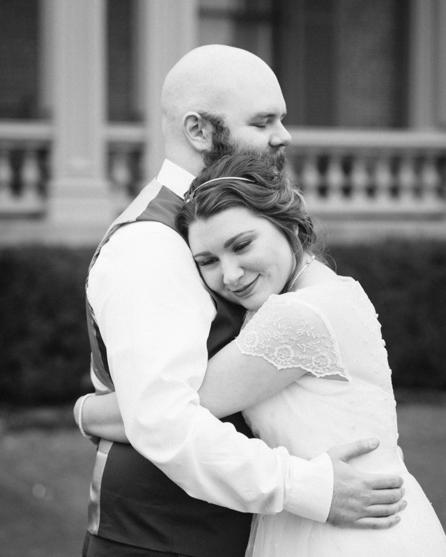 bride-groom-hugging-640x800 Two Rivers Mansion Fall Wedding | Kristen and Chris