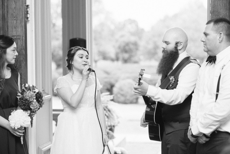 bride-groom-playing-music-800x534 Two Rivers Mansion Fall Wedding | Kristen and Chris