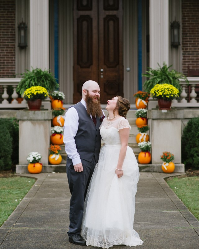 laughing-bride1-640x800 Two Rivers Mansion Fall Wedding | Kristen and Chris