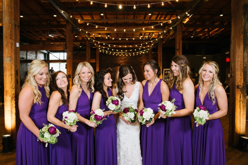 bride-with-purple-bridesmaids-dresses-800x534 Kristen and Nick Wedding at aVenue | Nashville, TN