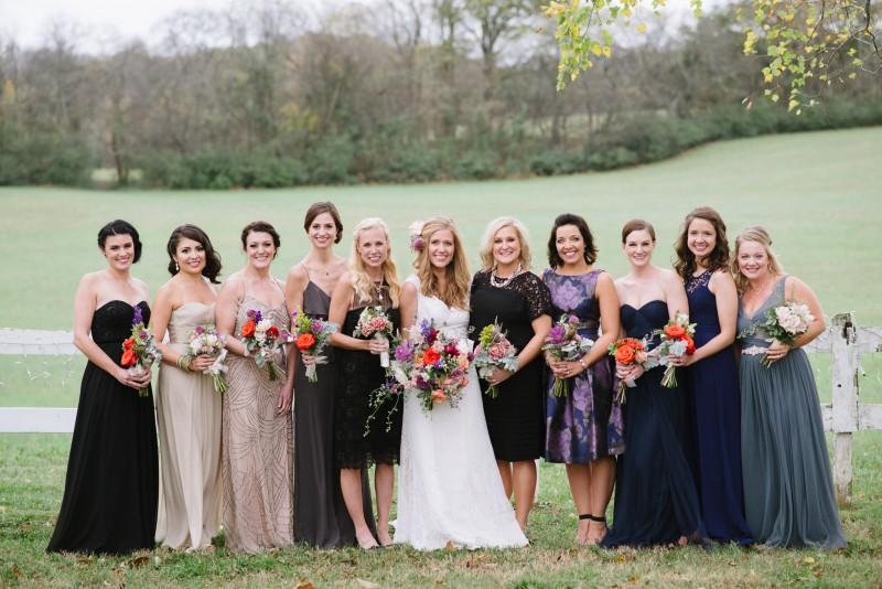 bridesmaids-in-different-dresses-800x534 Laurie + Craig - Antrim Wedding | Columbia, TN