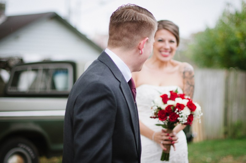 excited-wedding-first-look-800x530 Intimate East Nashville Wedding | Nichole and Petey
