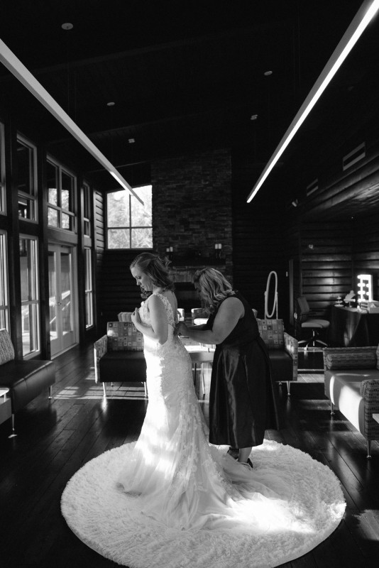 bride-getting-into-dress-534x800 Rachel + Kyle | Nelson Andrews Lodge | Nashville, TN