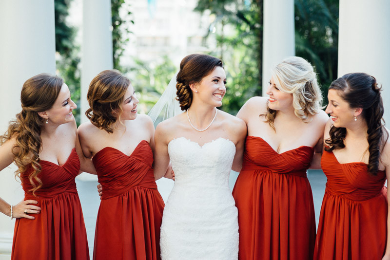 smiling-bride-at-her-bridesmaids-800x534 Julia and Wes | Nashville, TN Winter Wedding | Gaylord Opryland Hotel