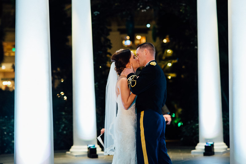 wedding-first-kiss Julia and Wes | Nashville, TN Winter Wedding | Gaylord Opryland Hotel