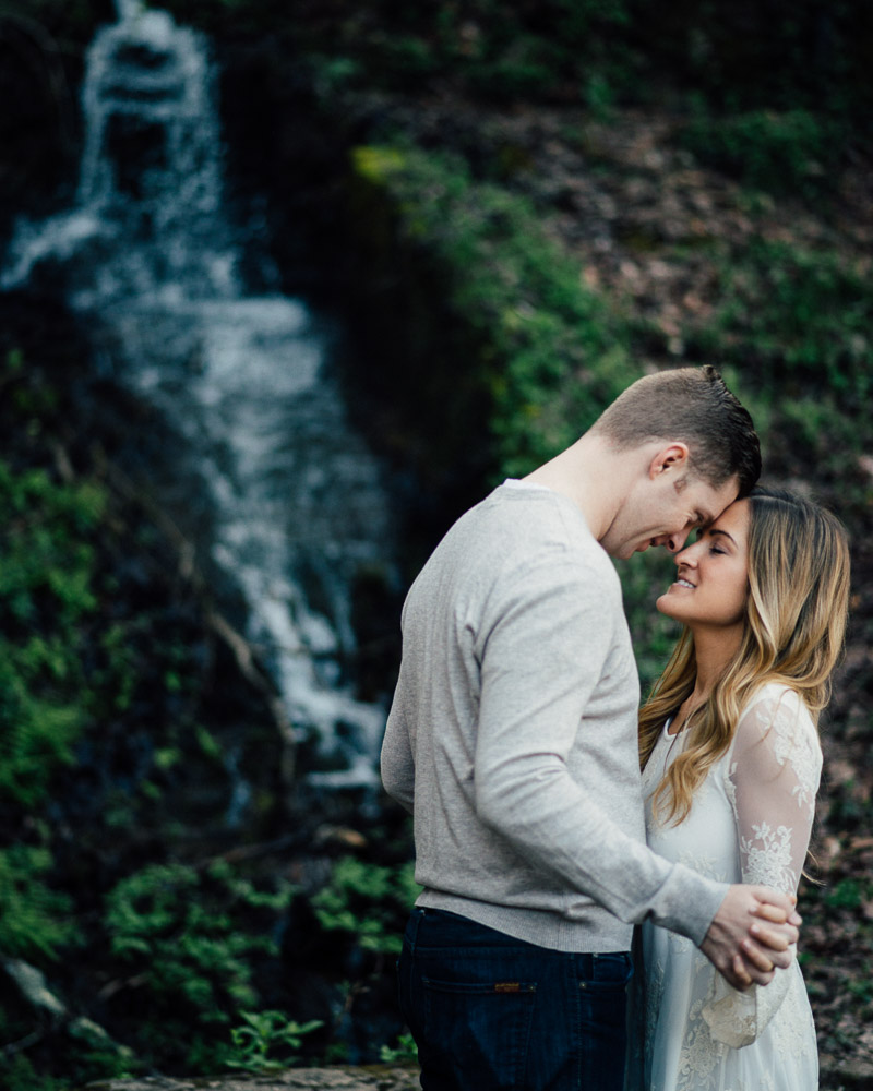 rock island tennessee waterfall engagement celladora