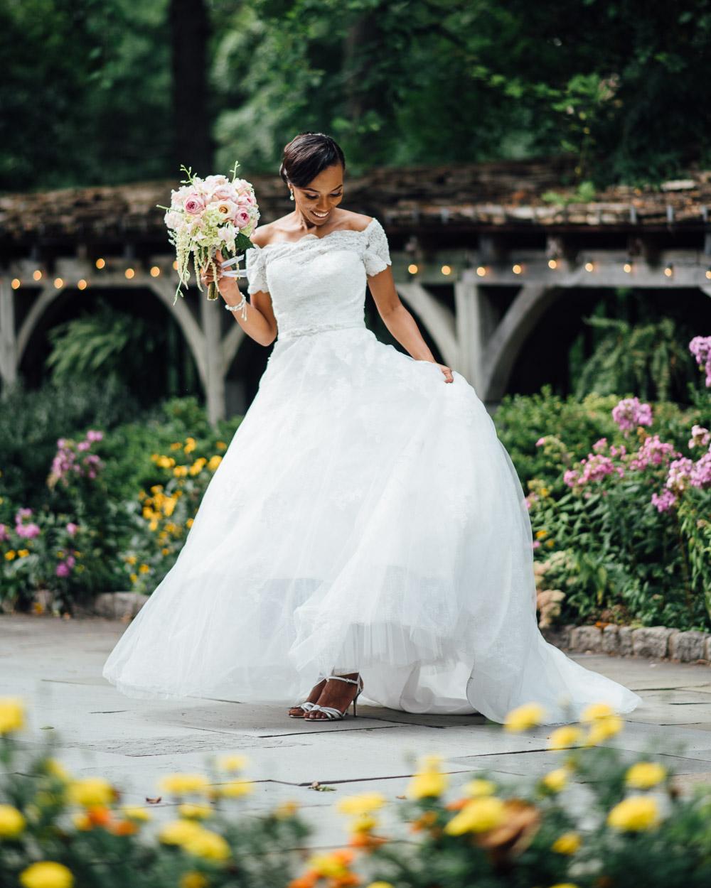bride-in-garden Cloisters Castle Wedding   Towson Maryland
