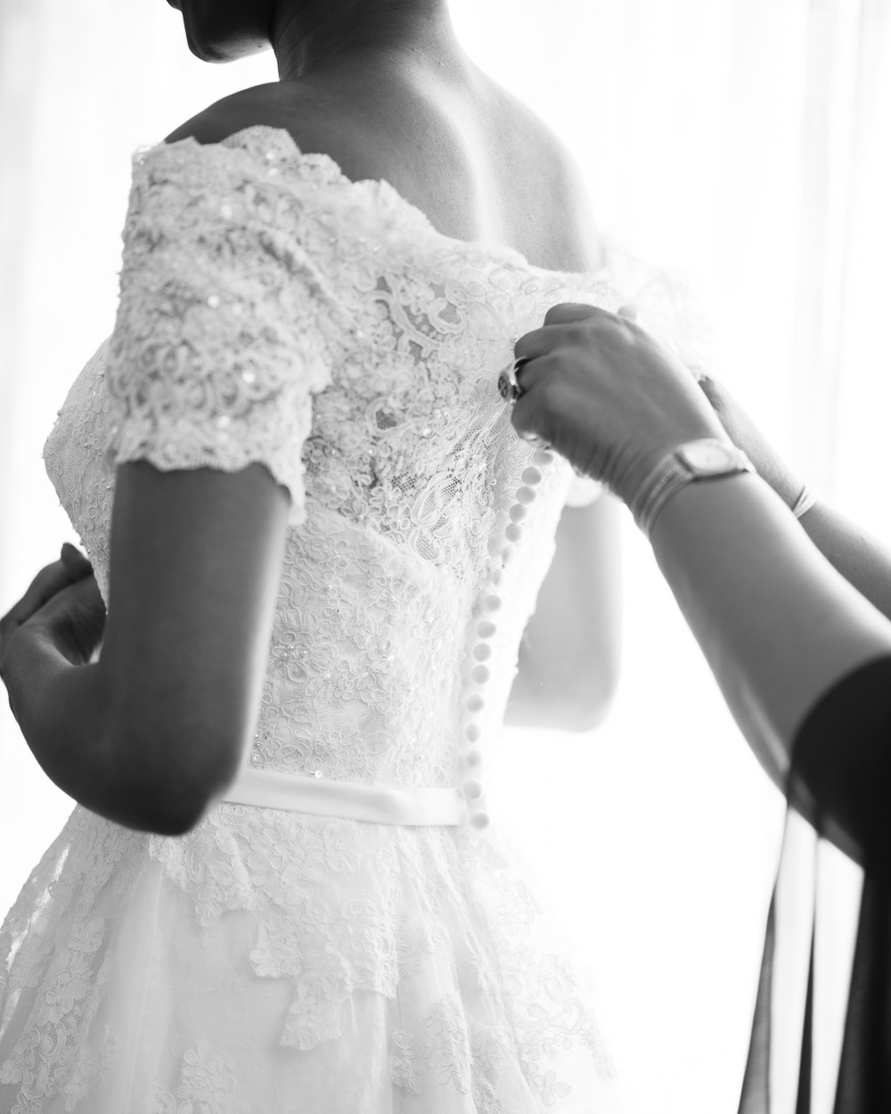 bride-mother-buttoning-dress Cloisters Castle Wedding   Towson Maryland