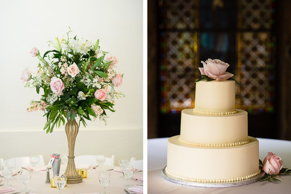 elegant-wedding-cake-with-flowers-e1475268923361 Cloisters Castle Wedding | Towson Maryland