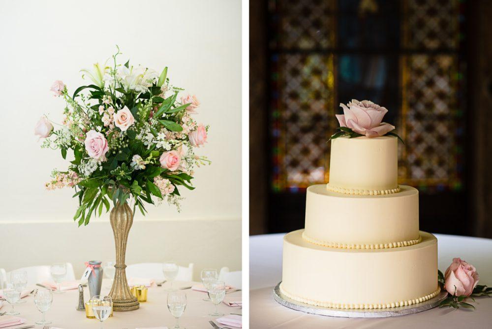 elegant-wedding-cake-with-flowers-e1475268923361 Cloisters Castle Wedding   Towson Maryland