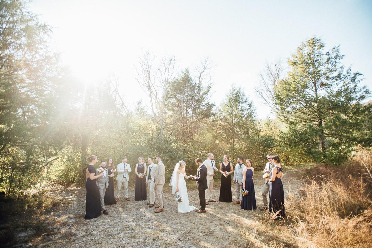 bridal-party-in-sunlight Becky and Alex | Green Door Gourmet - Fall Nashville Wedding