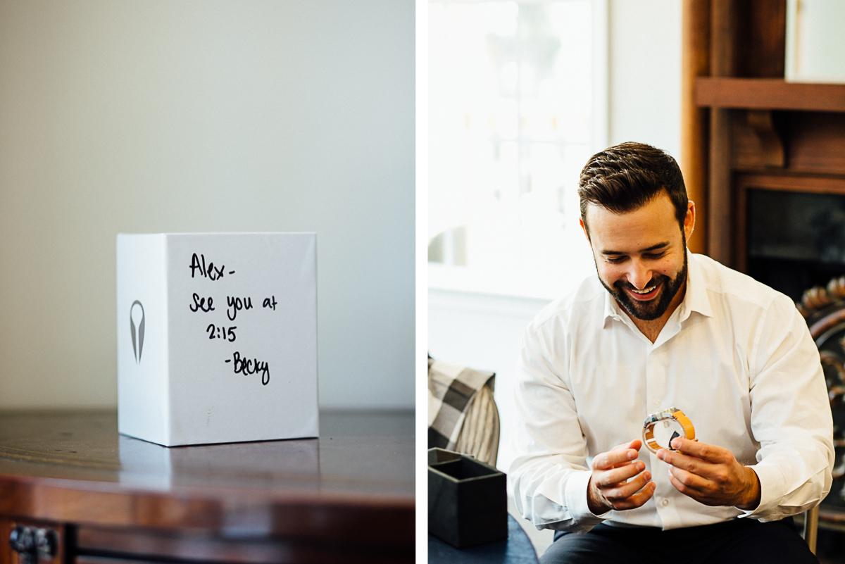 bride-gift-to-groom-watch Becky and Alex | Green Door Gourmet - Fall Nashville Wedding