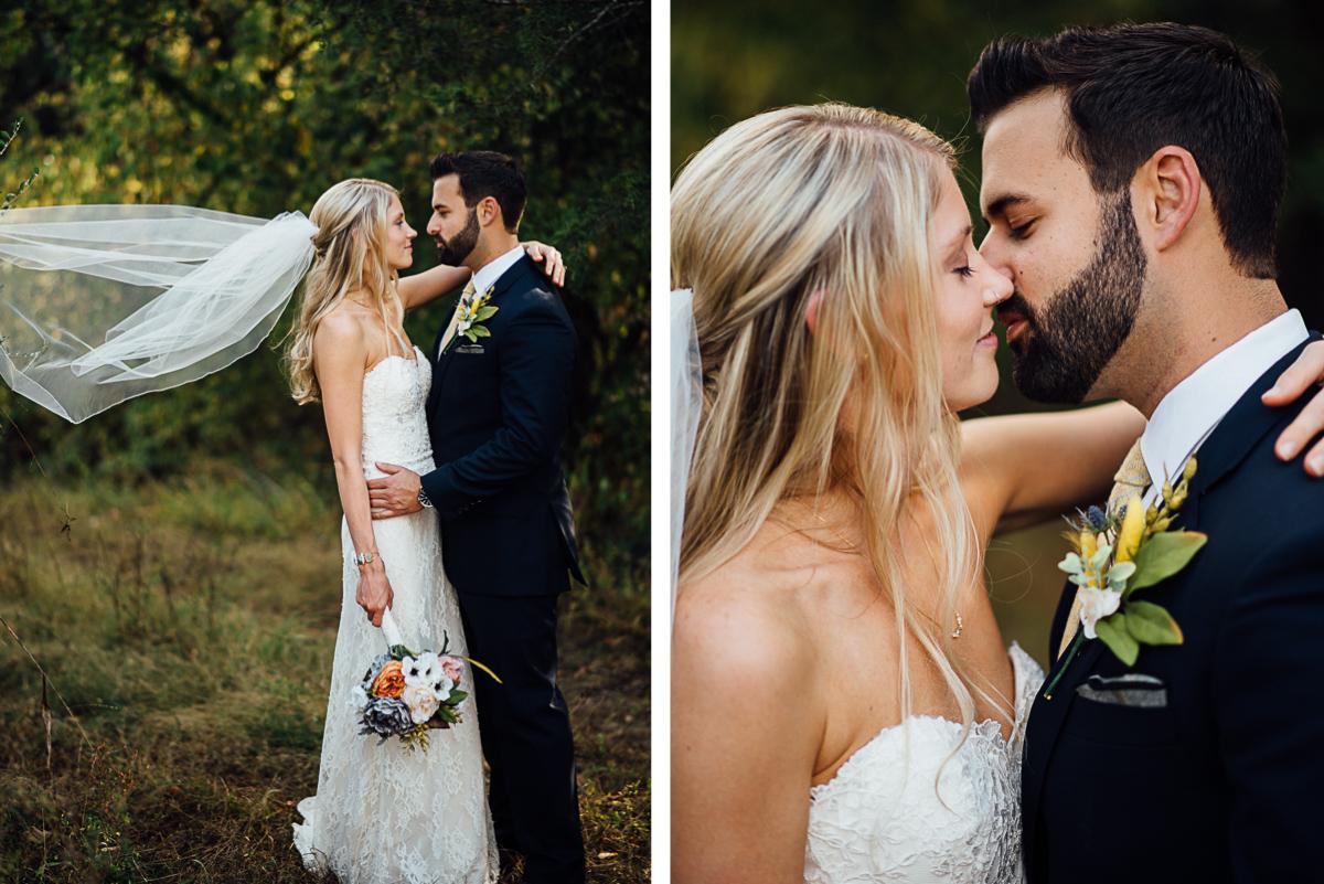 bride-veil-almost-kiss Becky and Alex | Green Door Gourmet - Fall Nashville Wedding
