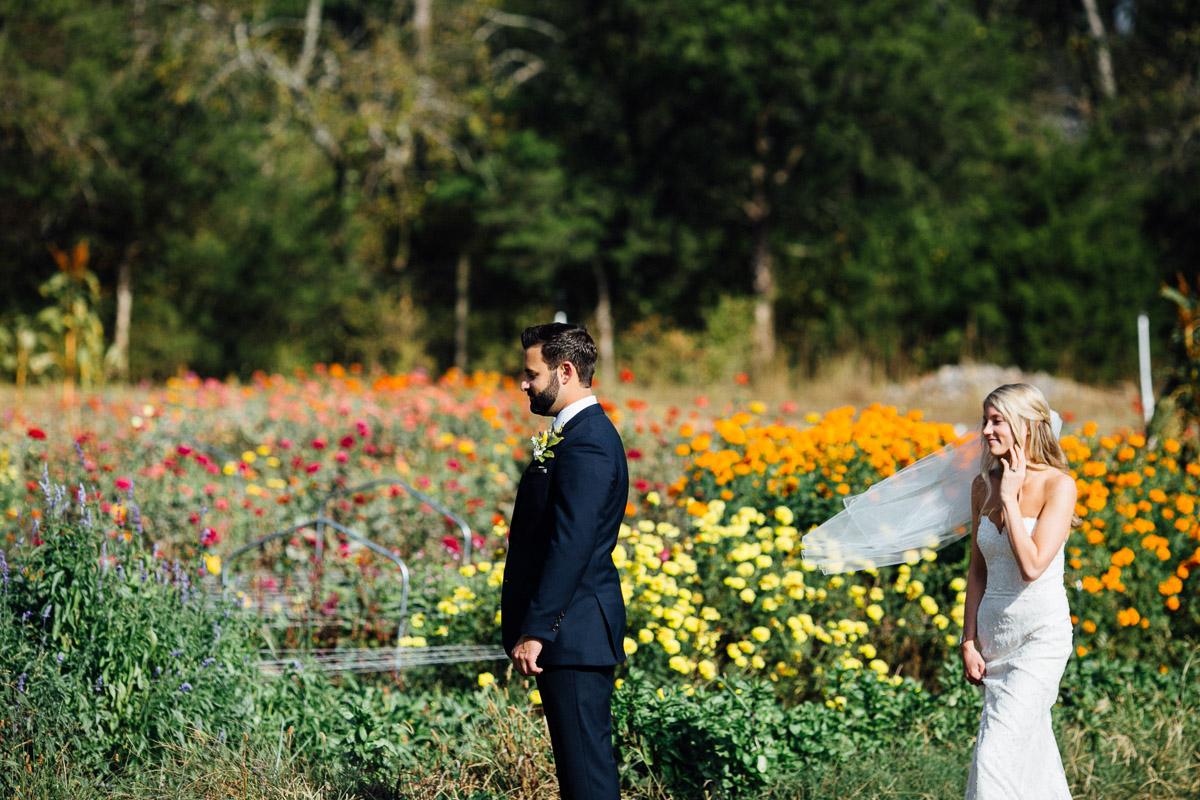 first-look-anticipation Becky and Alex | Green Door Gourmet - Fall Nashville Wedding