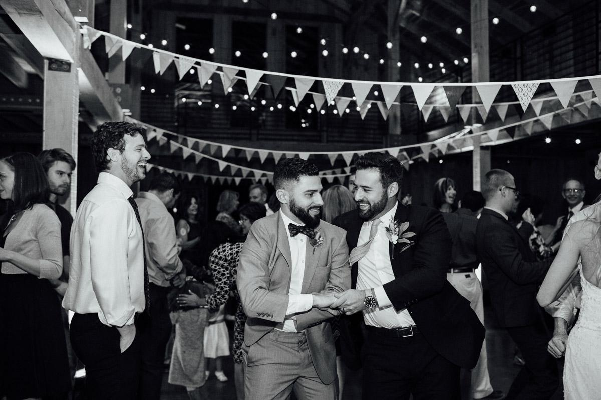 groom-dancing-with-friend Becky and Alex | Green Door Gourmet - Fall Nashville Wedding