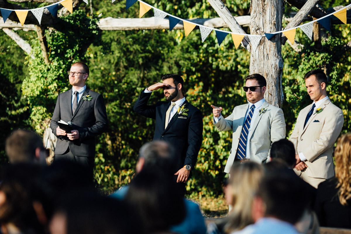 groom-looking-towards-bride Becky and Alex | Green Door Gourmet - Fall Nashville Wedding