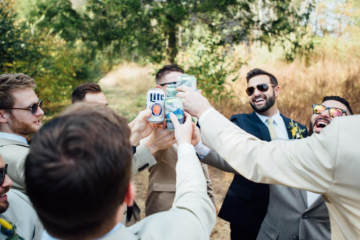groomsmen-cheers Becky and Alex | Green Door Gourmet - Fall Nashville Wedding