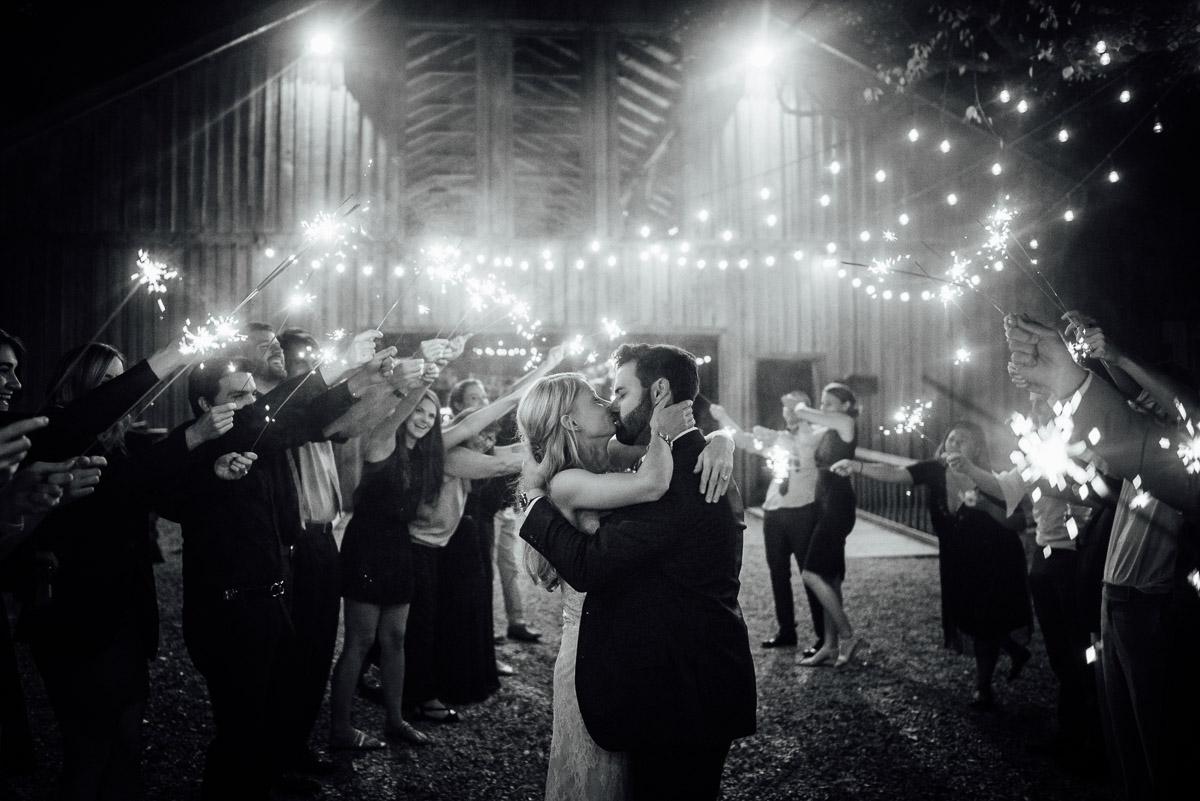sparkler-exit-wedding-kiss Becky and Alex | Green Door Gourmet - Fall Nashville Wedding