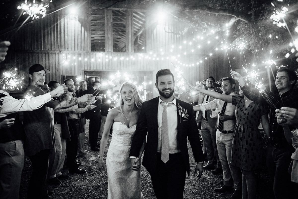 sparkler-exit Becky and Alex | Green Door Gourmet - Fall Nashville Wedding
